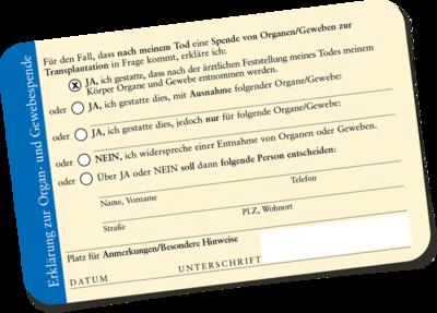organspendeausweis karte Organspendeausweis als Plastik Scheckkarte kostenlos online